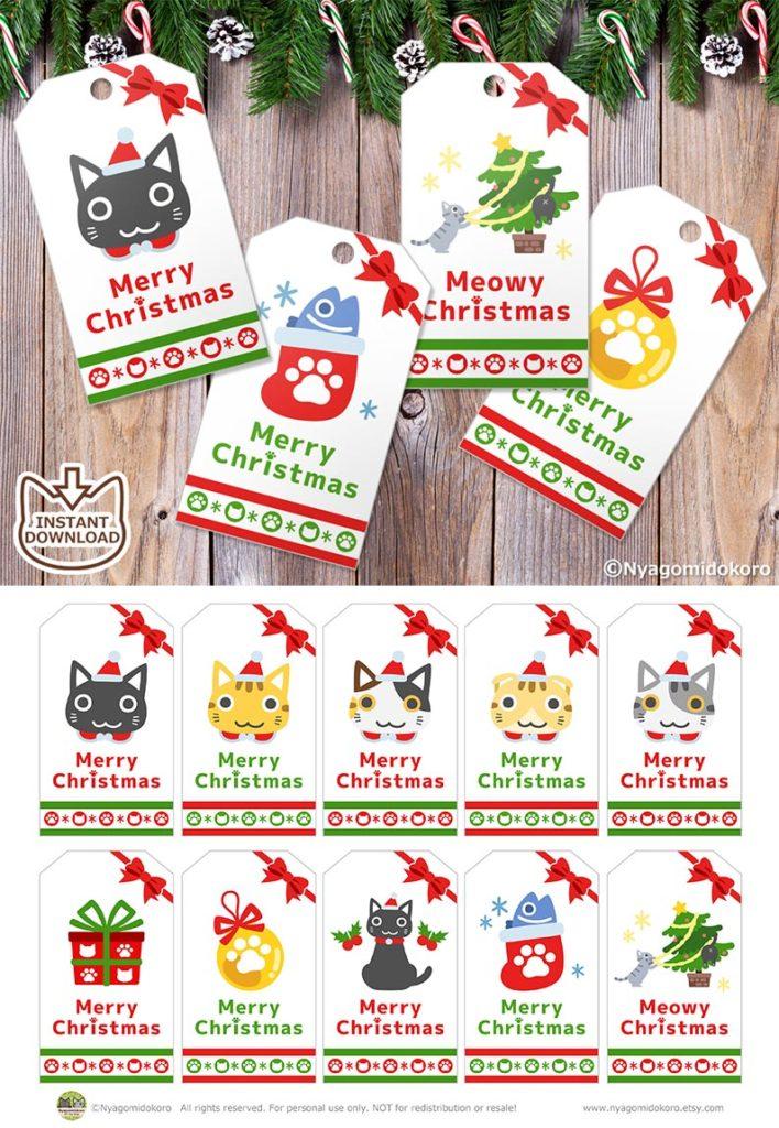 Printable Ribbon Cats and Christmas Ornaments Gift Tags