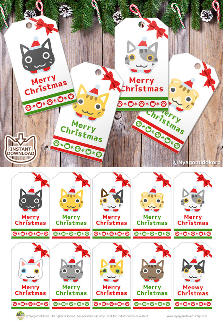 Printable Cute Cats Faces Christmas Gift Tags