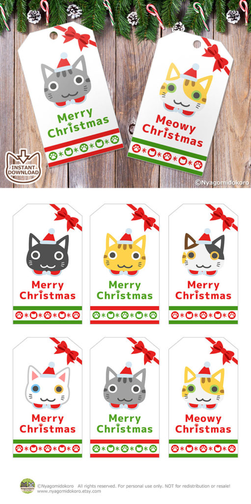 Printable Cute Cats Faces Christmas Gift Tags (Big Size)