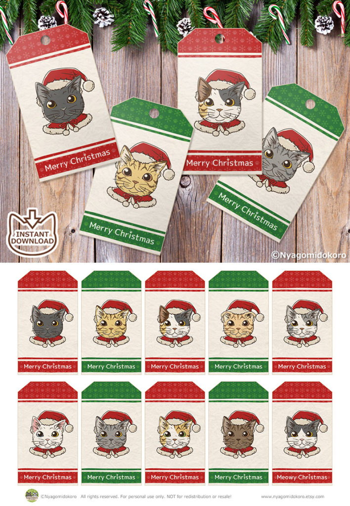 Santa Cats Christmas Gift Tags with green & red. Set of 10