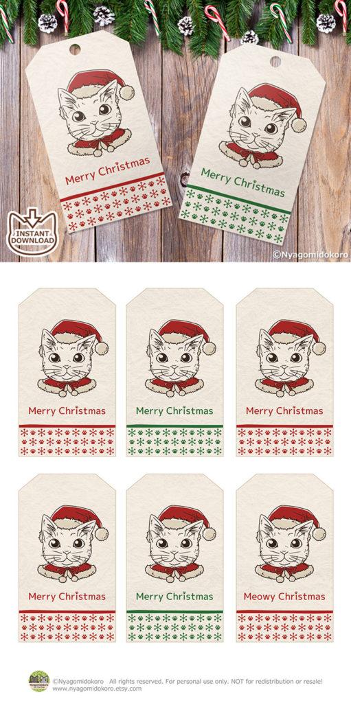 Coloring Santa Cats Christmas Gift Tags, Set of 6