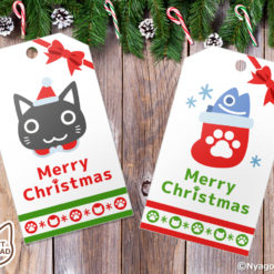 Santa Cats and Christmas Ornaments Gift Tags. Set of 6