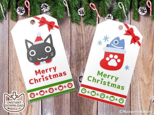 Santa Cats and Christmas Ornaments Gift Tags. Set of 6