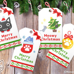 Santa Cats and Christmas Ornaments Gift Tags. Set of 10