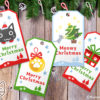 Santa Cats and Christmas Ornaments Gift Tags with Tree Frame Set of 10