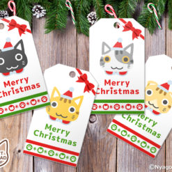 10 Cute Cats Faces Christmas Gift Tags