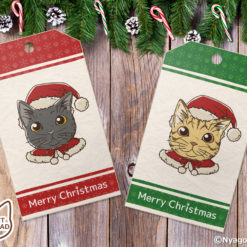 Santa Cats Christmas Gift Tags with green & red. Set of 6