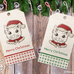 Coloring Santa Cats Christmas Gift Tags, Set of 6