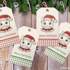 Coloring Santa Cats Christmas Gift Tags, Set of 10