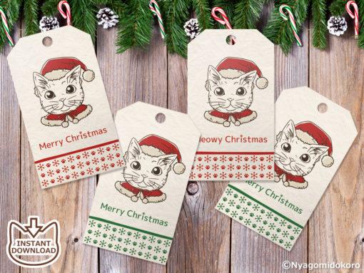 Coloring Santa Cats Christmas Gift Tags, Set of 10