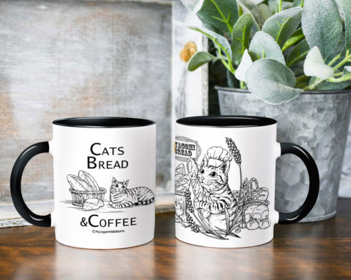 Baguette & Tabby Cat Coffee Mug - black handle