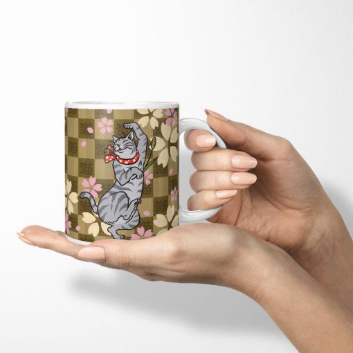 Sakura & Tabby Cat Coffee Mug (brown)