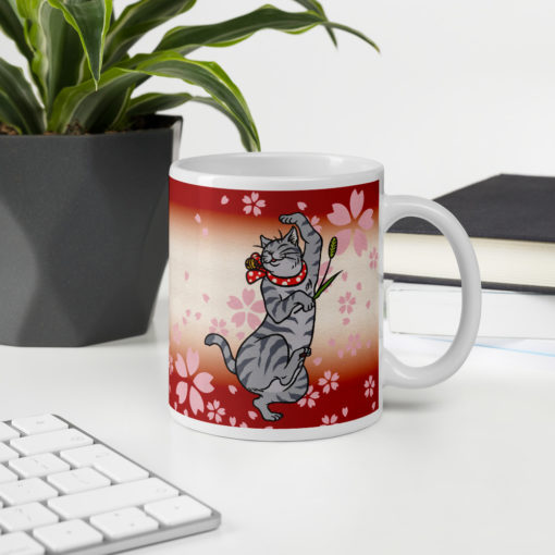 Sakura & Tabby Cat Coffee Mug