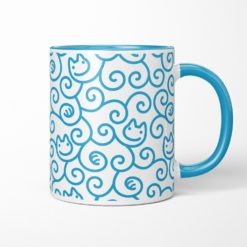 Cats Karakusa Coffee Mug (blue)