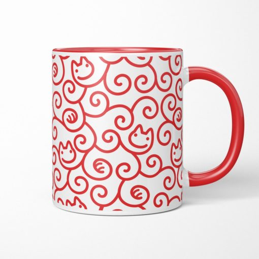 Cats Karakusa Coffee Mug (red)