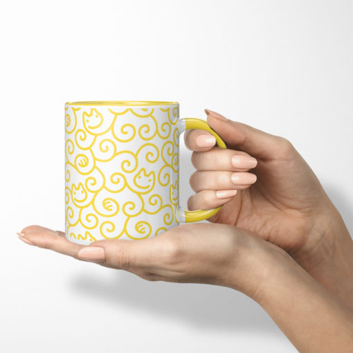 Cats Karakusa Coffee Mug (yellow)