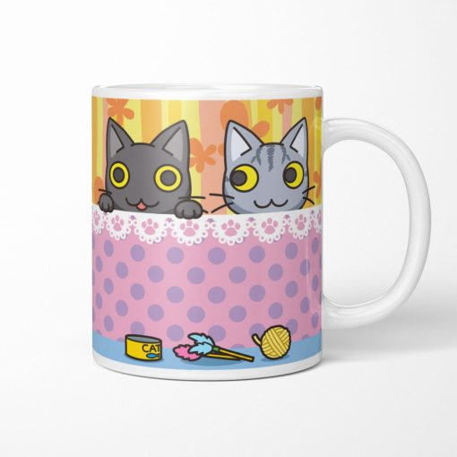 Black & Tabby Cat Coffee Mug