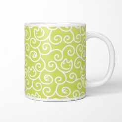 Cat Karakusa Coffee Mug (chartreuse green)