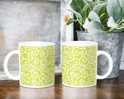 Cat Karakusa Coffee Mug (chartreuse green)