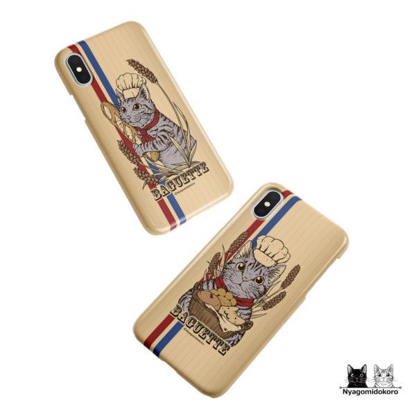 サバトラ猫とフランスパンのiPhoneケース