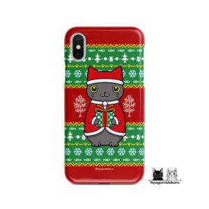 クリスマス 猫サンタクロースiPhoneケース