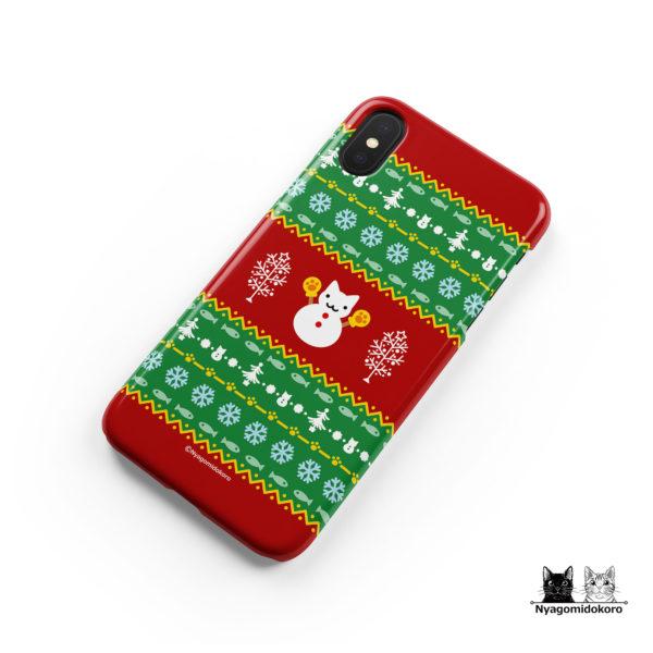 クリスマス 猫の雪だるまiPhoneケース
