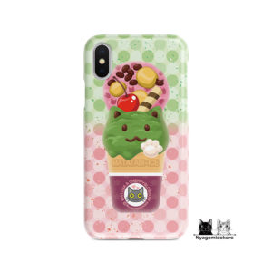 抹茶&さくらの猫アイスiPhoneケース