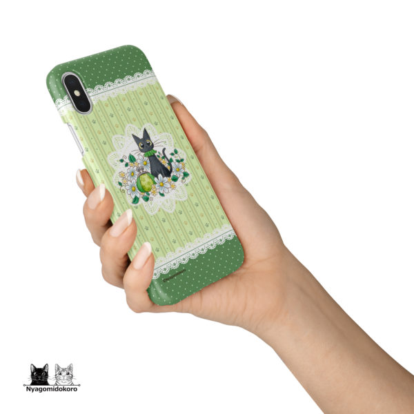 黒猫とマーガレットのiPhoneケース