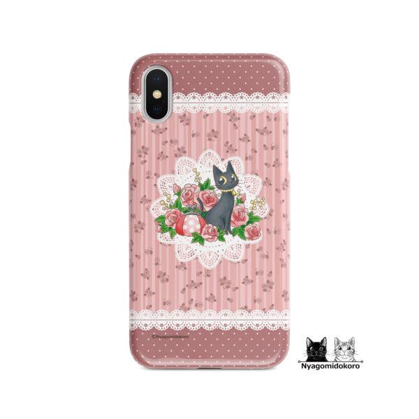 黒猫とローズのiPhoneケース