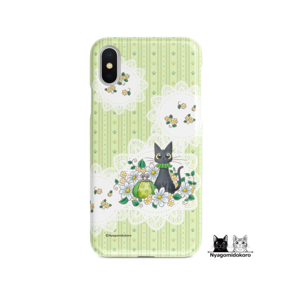 黒猫とレースマーガレットのiPhoneケース