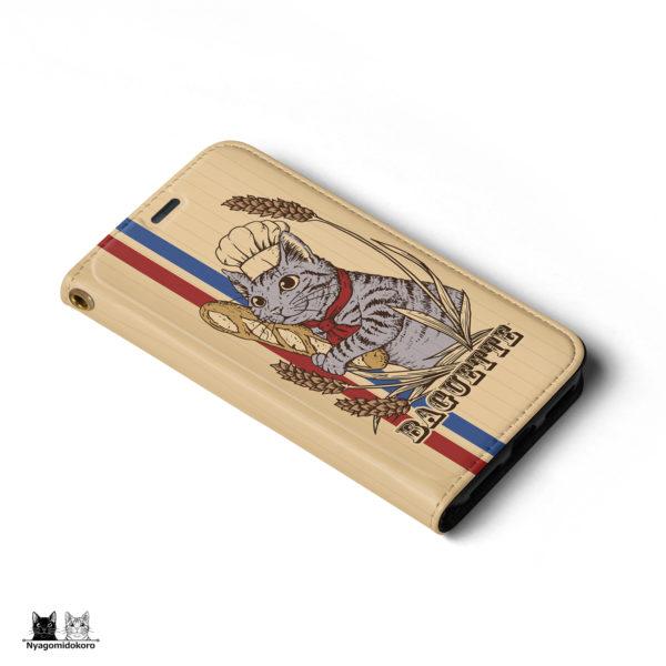 サバトラ猫とフランスパンの手帳型iPhoneケース