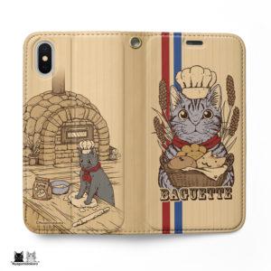 サバトラ猫と猫パンの可愛い手帳型iPhoneケース