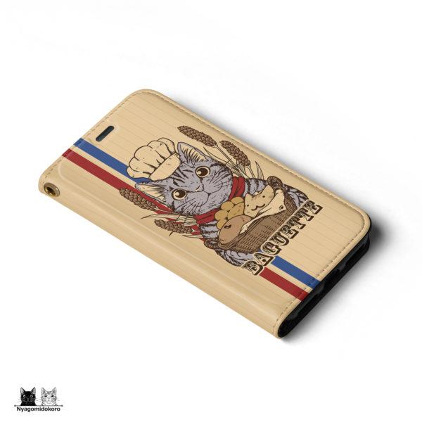 サバトラ猫と猫パンの手帳型iPhoneケース