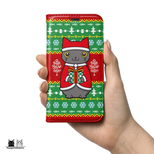 クリスマス 猫サンタクロース手帳型iPhoneケース