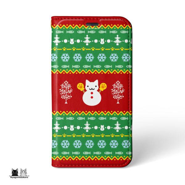 クリスマス 猫の雪だるま 手帳型iPhoneケース