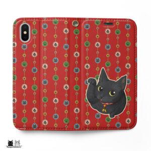 黒招き猫 手帳型iPhoneケース