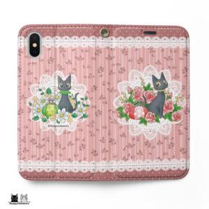 黒猫とローズの手帳型iPhoneケース