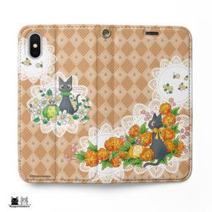 黒猫とレースポピーの手帳型iPhoneケース