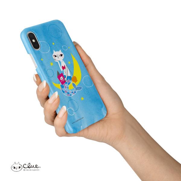 猫マーメイドとBOOK iPhone ハードケース