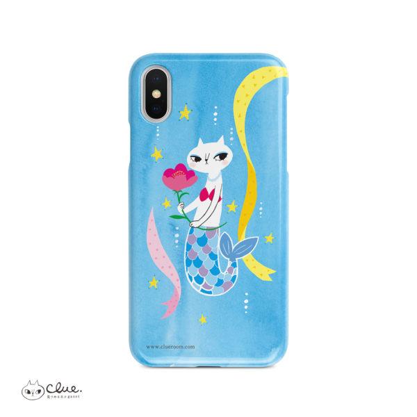 猫マーメイドとFlower iPhone ハードケース