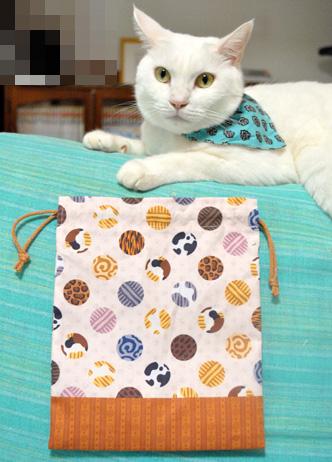 ドット猫の巾着 ブログに掲載していただきました