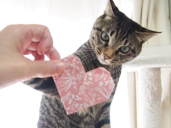 ハートの折り紙でバレンタイン♪