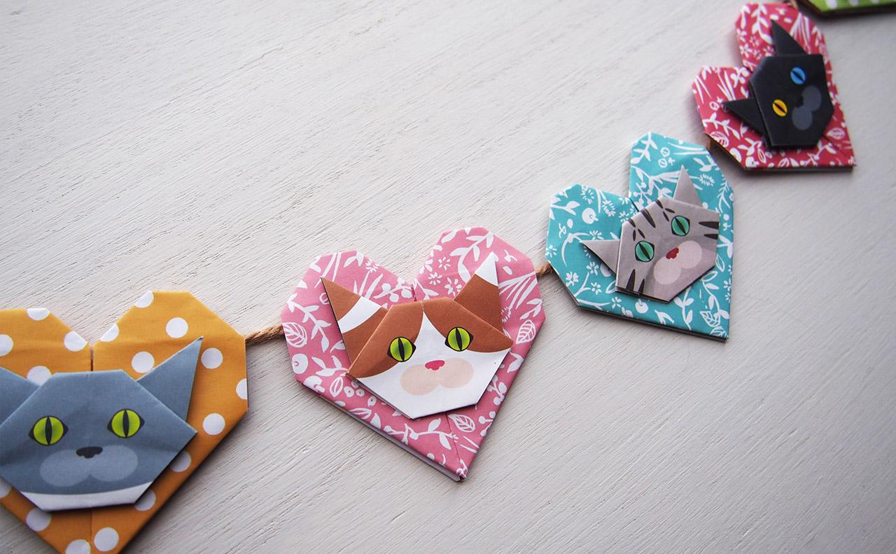 ハートと猫顔折り紙でガーランド