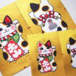 アメリカの招き猫ギフトショップ、The Lucky Cat museum様の猫キッカーデザインと生地制作をさせていただきました。