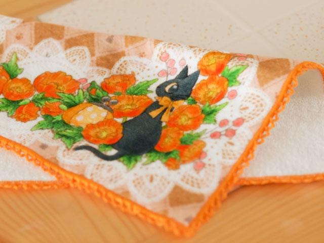 猫 ハンドタオル 黒猫とがま口 ポピー
