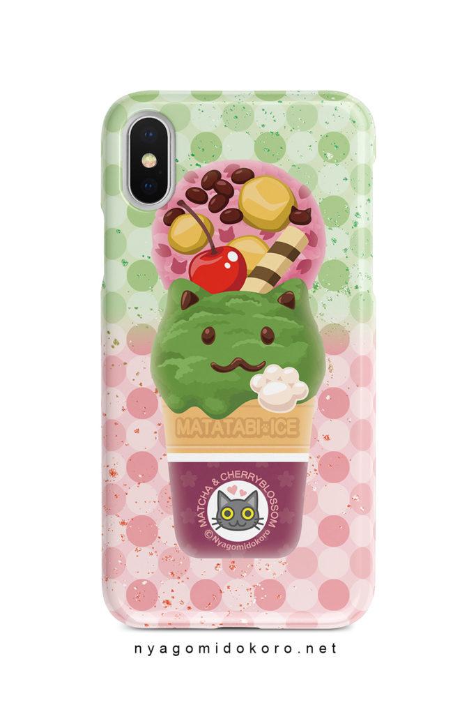 猫アイスiPhoneケース 抹茶&さくら