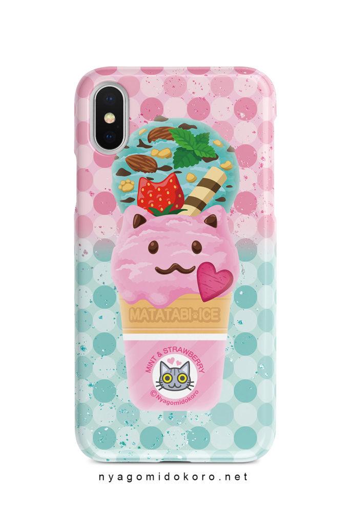 猫アイスiPhoneケース ミント&いちご