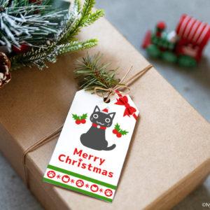 サンタ猫とクリスマスオーナメントのギフトタグ