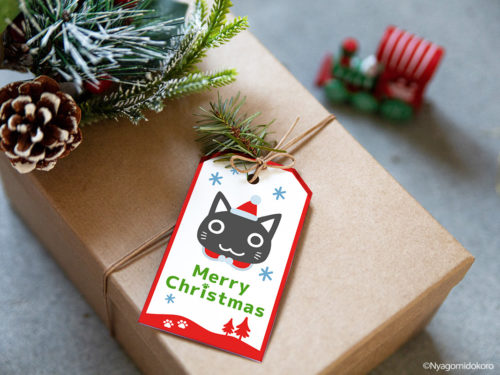 猫サンタとクリスマスオーナメントのギフトタグ - フレーム