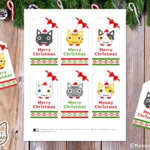 6匹の猫サンタ クリスマスギフトタグ